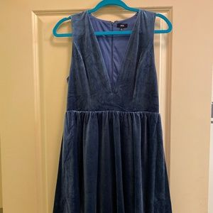 Urban Outfitters Blue Velvet V-Neck Dress